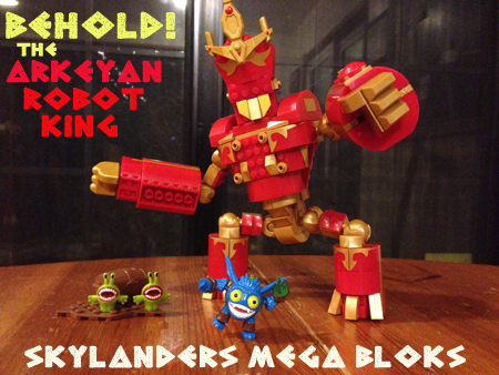 rise of the skylanders mega bloks arkeyan robot king out