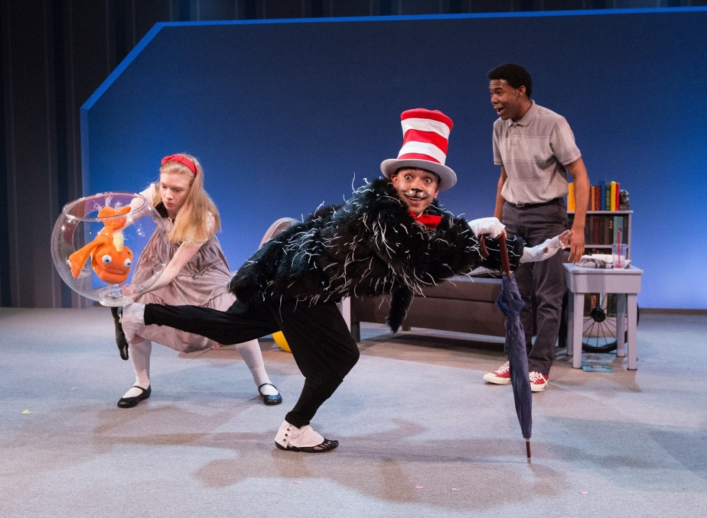 The Arden Theatre Cat in the Hat Press Photo 2_Maggie Johnson (Sally), Doug Hara (Cat), and Richard Crandle (Boy)_photo credit Mark Gavin