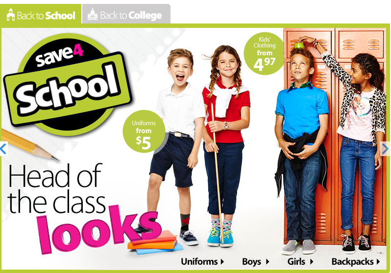 Wal-Mart 2014 Back to School Sale Image Header