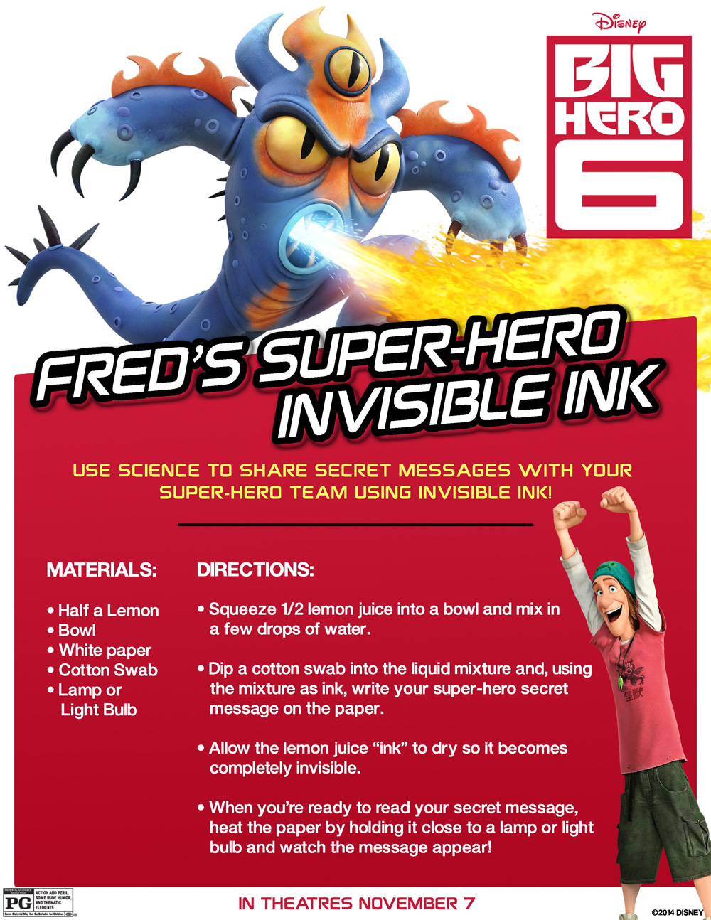 Big hero 6 fred s super hero invisible ink experiement activity sheet