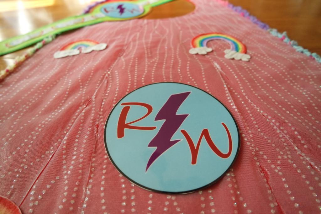 Homemade Halloween Costume Rainbow Warrior Logo on Cape