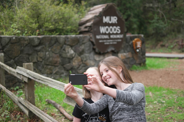 Two girls selfie on the forest moon of endor