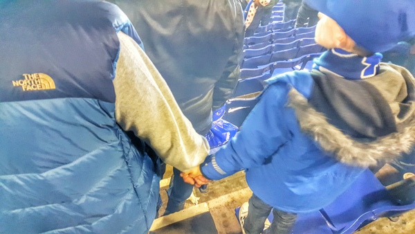 Everton FC Goodison Park Father and Son Holding Hands After Arsemal Match March 2016