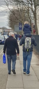 Everton FC Goodison Park Father and Son Walking Home After Arsemal Match March 2016