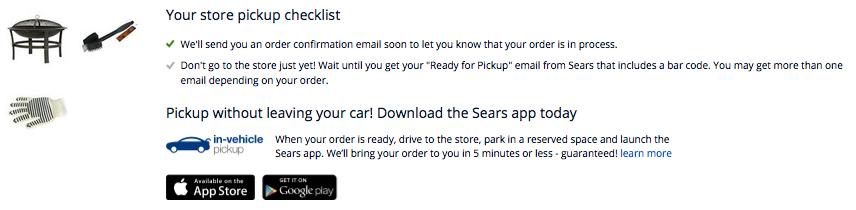Sears AllForMom In Vehicle Pickup Order Summary