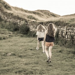 Two Kids Walking Hadrian's Wall