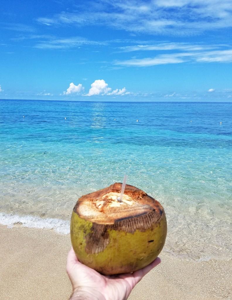 carnival-splendor-ocho-rios-jamaica-bamboo-beach-vip-excursion-coconut-drink