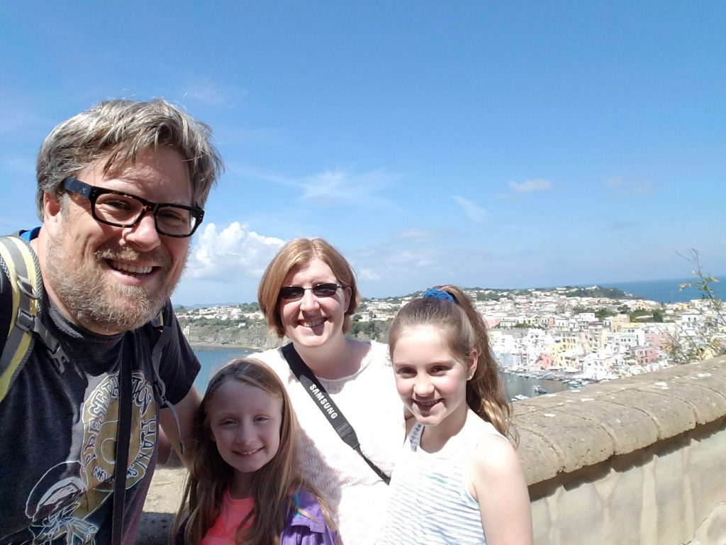Day in Italy with Kids Procida Family at the top