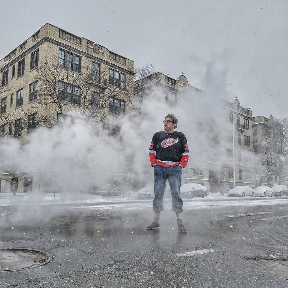 Jeff Bogle Red Wings Pose in Detroit