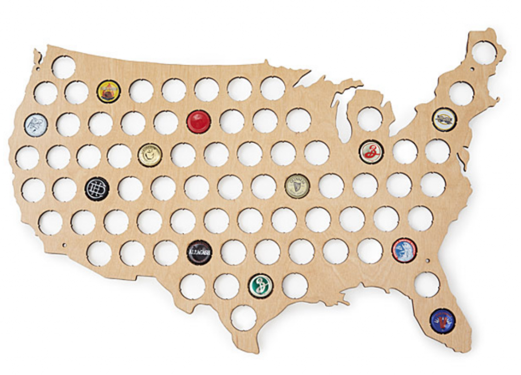 Uncommon Good Father's Day Gift Beer Cap Map USA