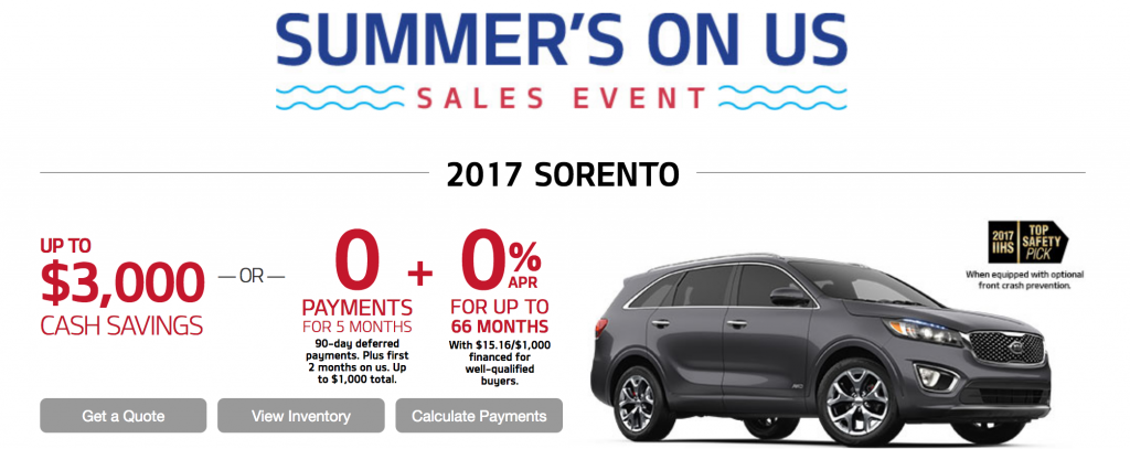 Kia Sorento No Payments Summer's On Us Sales Event