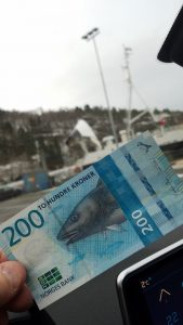 What Norway Kroner Money Looks Like As We Board Yet Another Car Ferry in Norway