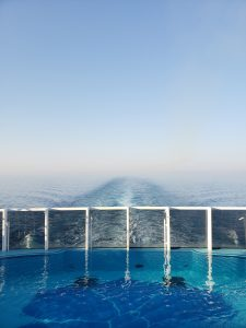 Cruising Carnival Horizon Vie from the back of the ship