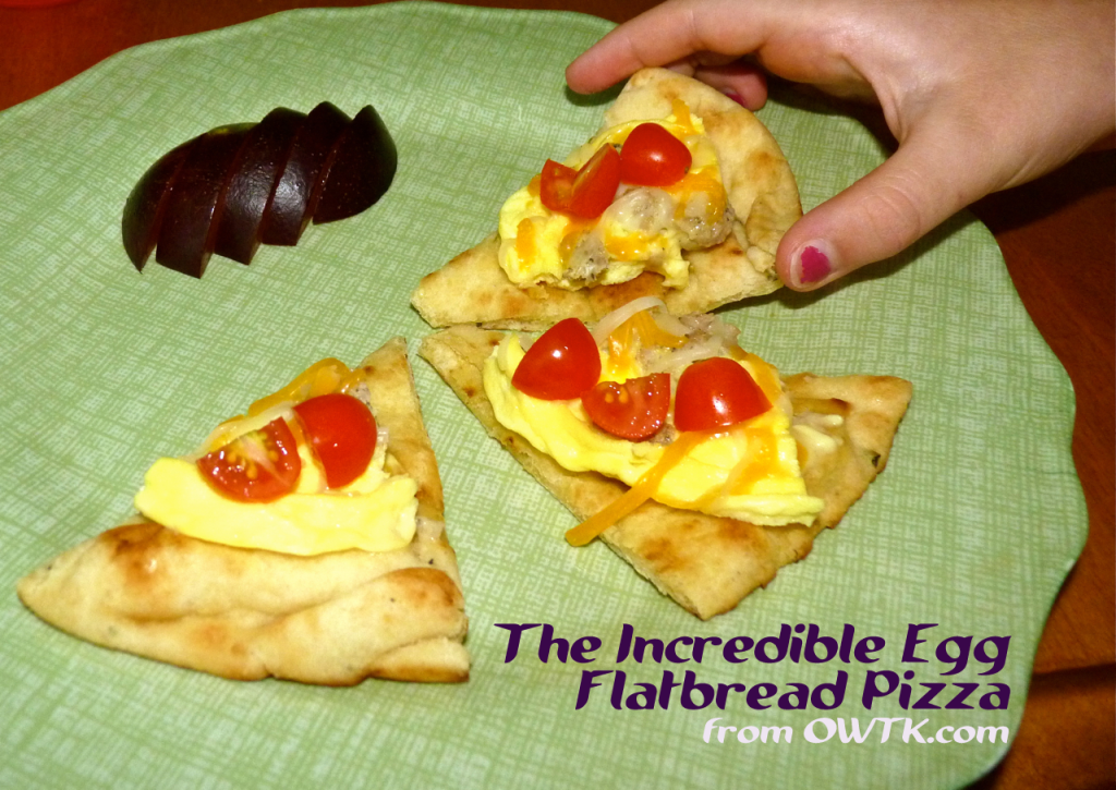 Incredible Egg Flatbread Pizza Bear's First Slice