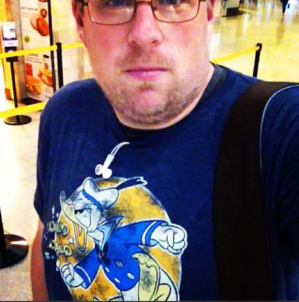 Jeff Bogle in his Disneyland Donald Duck T-shirt