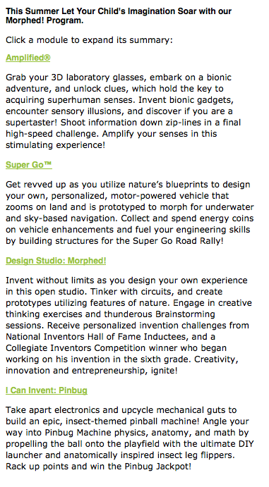 Camp Invention 2014 Morphen Program Details