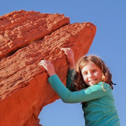 Valley of Fire State Park Daughter Posing on a cliff