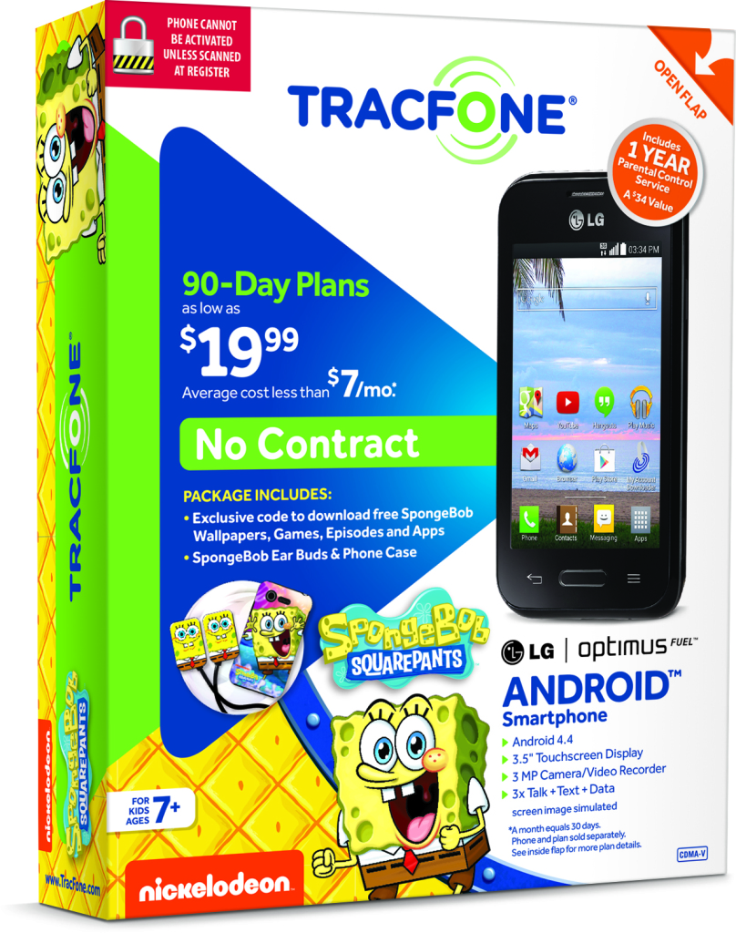 TracFone LG Optimus Fuel Spongebob Squarepants Kids First Cellphone box