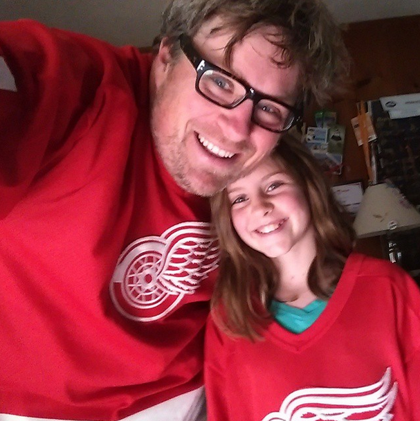 Dad and Daughters Red Wings Hockey Fans