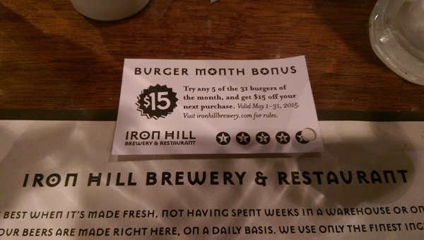 Iron Hill Brewery Burger Month Punch Card