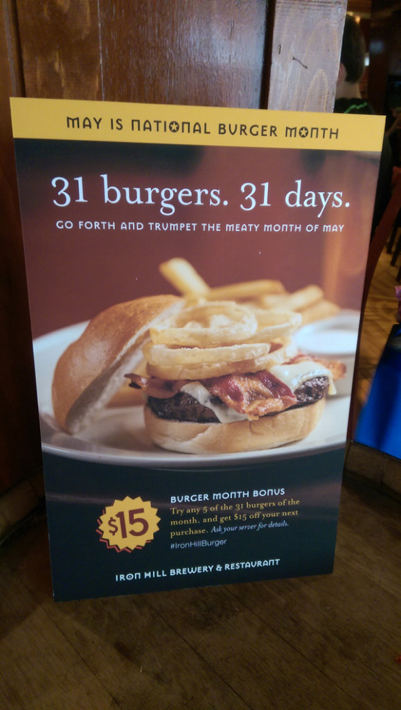 Iron Hill Brewery Burger Month Sign in West Chester