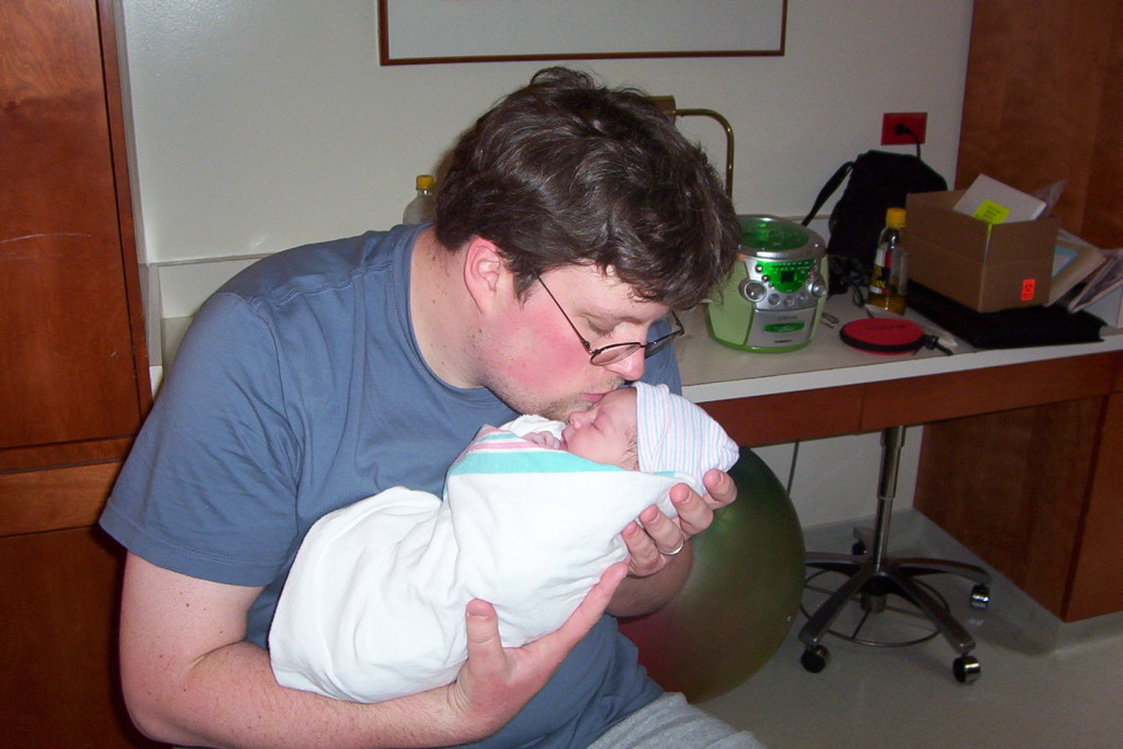 Dad and daughter first kiss