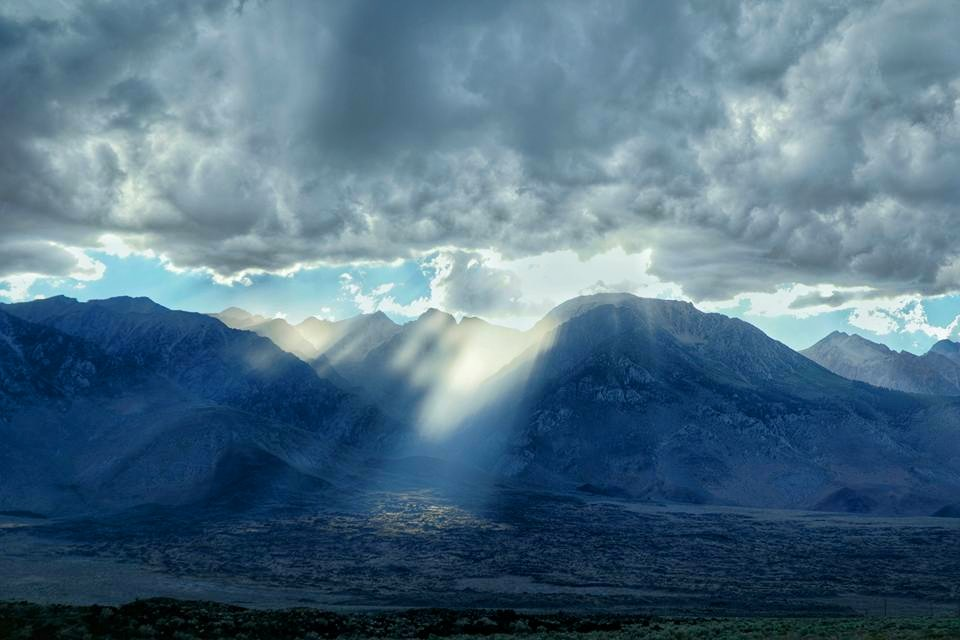 sunlight through the clouds in the High Sierras