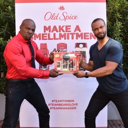 """Old Spice Guys Terry Crews, left, and Isaiah Mustafa, team up for the first time ever to celebrate their popular """"Make a Smellmitment"""" campaign to teach guys that whatever their scent choice, Old Spice has them covered, and announce next Tuesday's much-anticipated conclusion to the campaign, on Wednesday, November 18, 2015, in Los Angeles. (Photo by Jordan Strauss/Invision for Old Spice/AP Images)"""