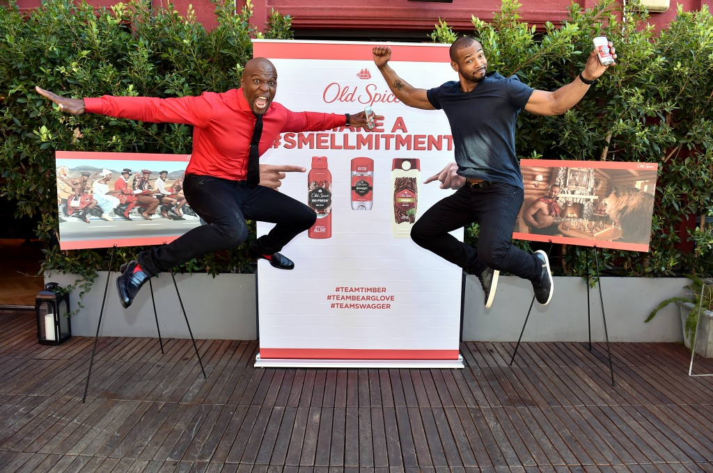 "IMAGE DISTRIBUTED FOR OLD SPICE - Old Spice Guys Terry Crews, left, and Isaiah Mustafa, team up for the first time ever to celebrate their popular ""Make a Smellmitment"" campaign to teach guys that whatever their scent choice, Old Spice has them covered, and announce next Tuesday's much-anticipated conclusion to the campaign, on Wednesday, November 18, 2015, in Los Angeles. (Photo by Jordan Strauss/Invision for Old Spice/AP Images)"