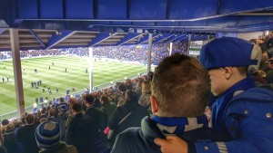 Everton FC Goodison Park Father and Son During Halftime Arsemal Match March 2016