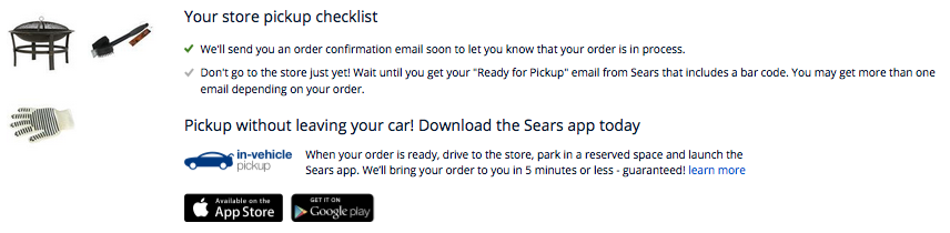 Sears AllForMom In Vehicle Pickup Order Summary