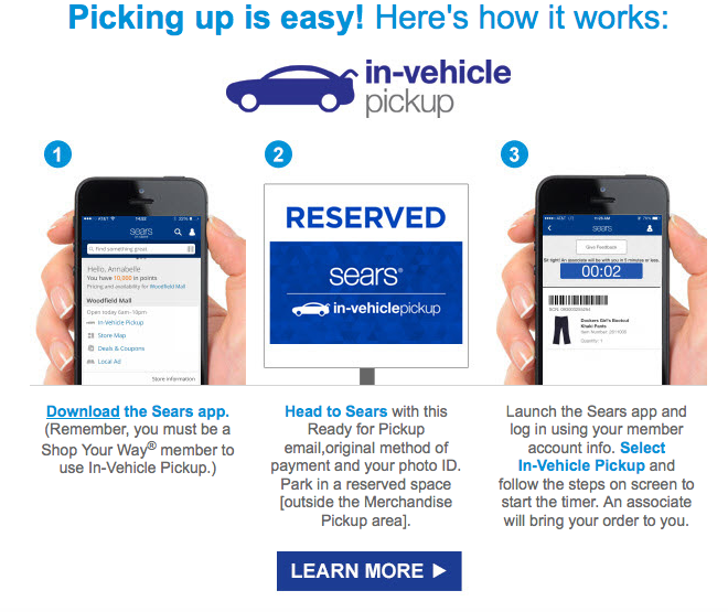 Sears In Vehicle Pickup Order Ready Screen