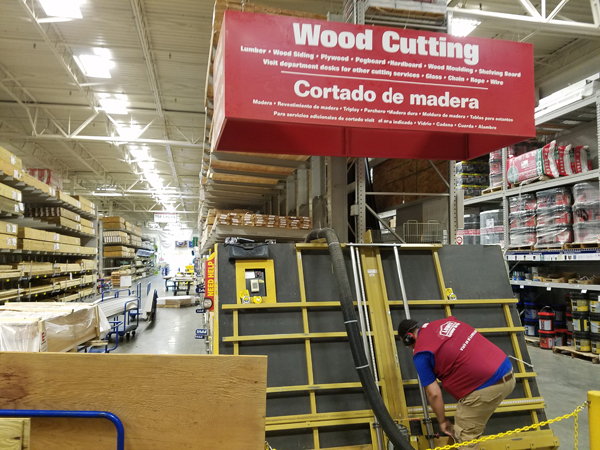 Lowes DadTime cutting wood for cornhole board - Out With The