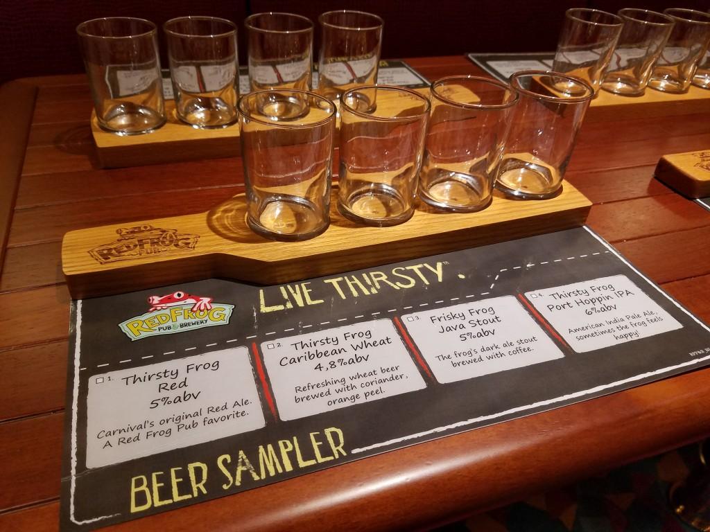 Carnival Vista Red Frog Brewery Beer Sampler Lineup