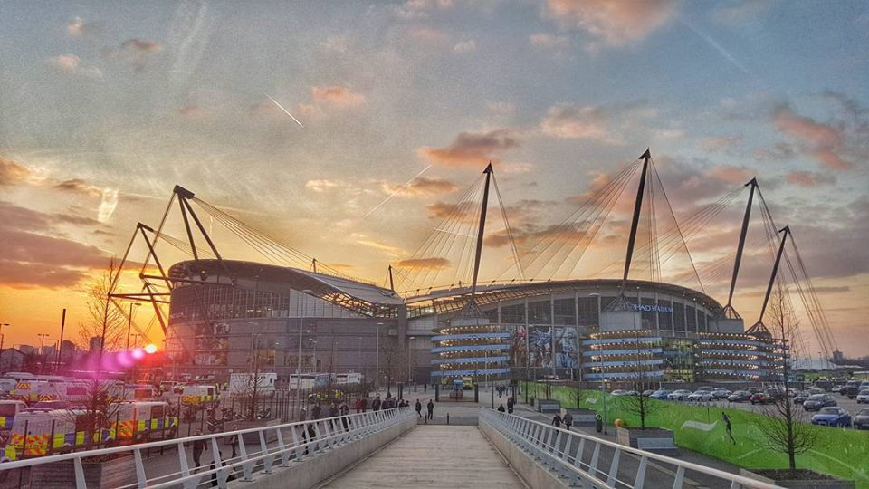 Sunset at the Etihad after Manchester Derby 2016