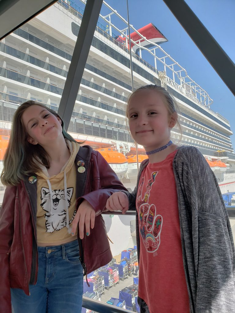 Two Kids About To Board The Carnival Horizon