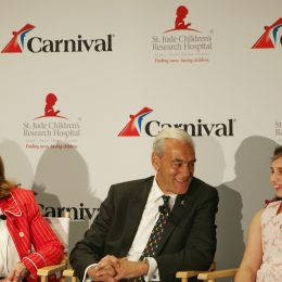 Carnival Cruise's Christine Duffy, ALSAC's Richard Shadyac Jr. and incredible St. Jude kid Victoria.