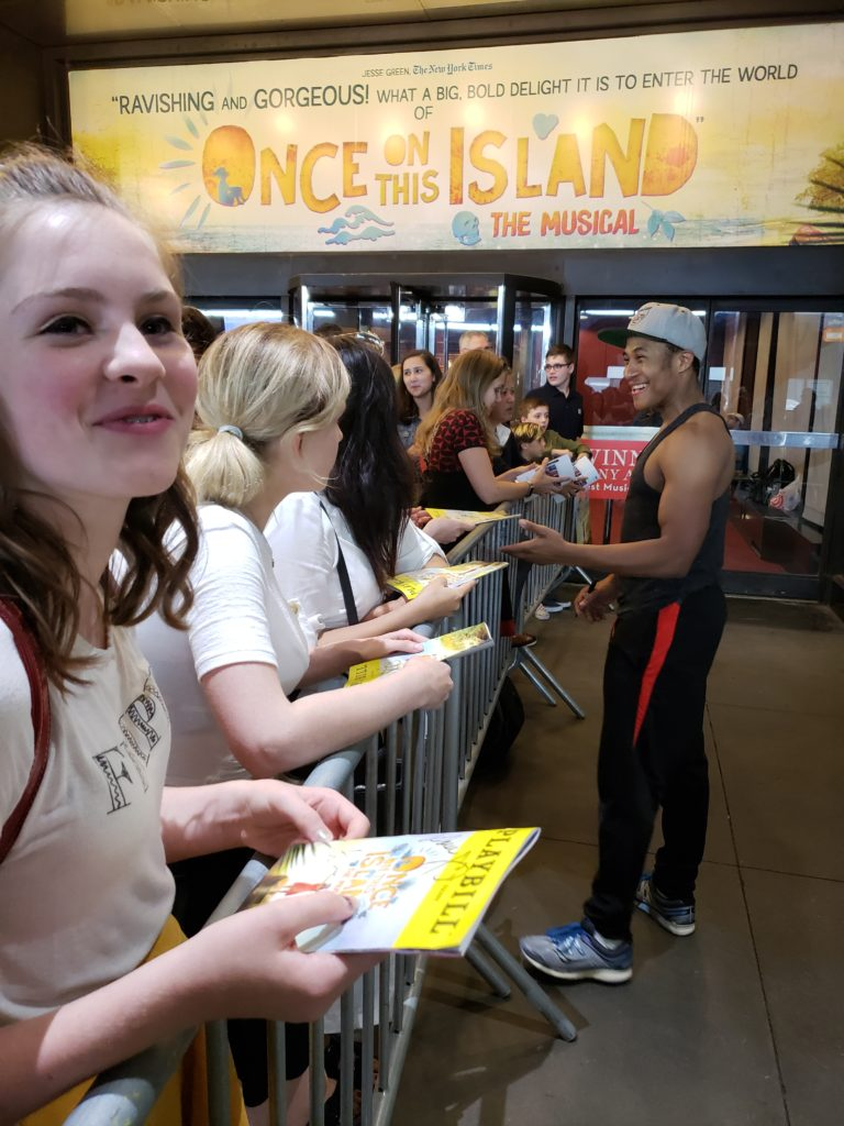 Broadway stage door autograph goals with Tony Award Winning Once On This Island Cast