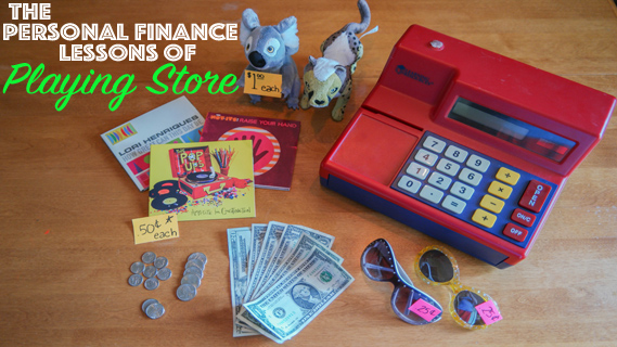 Teaching kids personal finance by playing store at home