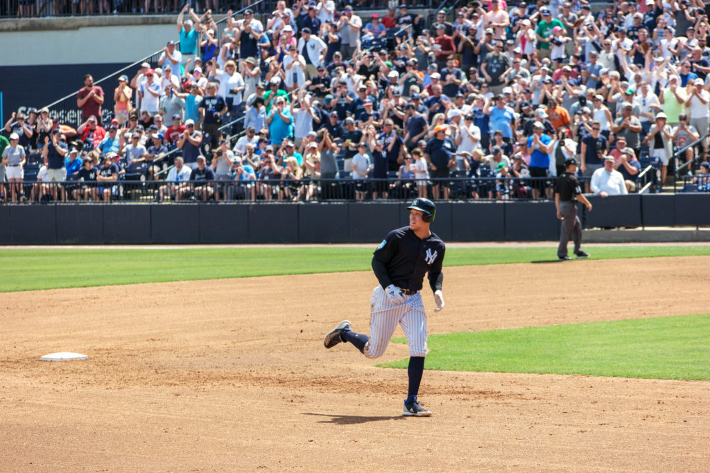 Yankees Aaron Judge rounding 2nd after a Spring Traning Home Run